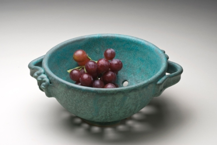 "Berry Bowl/Small Colander, wheel-thrown and altered, white stoneware, 6 ½ ""x 4"", glazed and fired to cone 6 in oxidation"