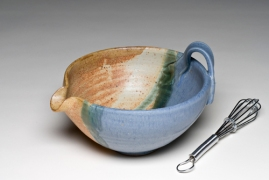 "Bowl/whisk, wheel-thrown stoneware, 6""x 3"", glazed and fired to cone 9/10 in reduction"