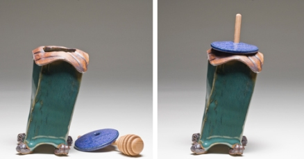 "High-Honey pot, 5""app., stoneware, extruded, hand-built and assembled, glazed and fired to various cones in reduction and oxidation"