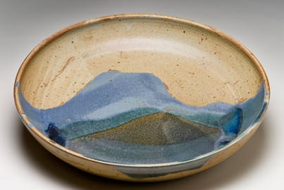 """House Mountain Platter, wheel-thrown stoneware, 13"""" x2"""" app., glazed and fired to cone 9/10 in reduction"""