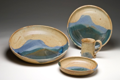House Mountain Series, wheel-thrown stoneware glazed and fired to cone 9/10 in reduction