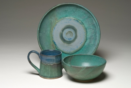 Shades of Blue-green place setting, wheel-thrown and altered, white stoneware fired to cone 6 in oxidation
