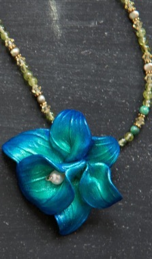 Sculpted Orchid on Pearl and Crystal Necklace