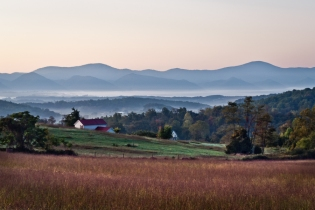 Farmhouse View of the Blue Ridge