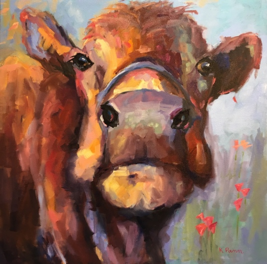 "Raisa, 30""X30"" Oil on gallery wrapped canvas, $850, By Karen Pannabecker"