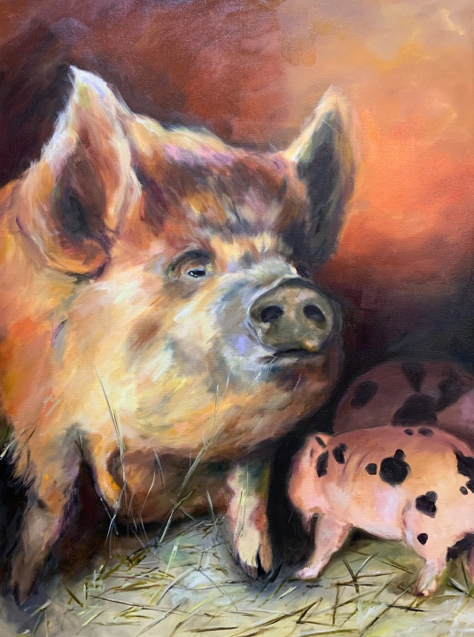 """Kune Kune mama, 30""""X40"""" Oil on gallery wrapped canvas, $1,000.00, By Karen Pannabecker"""