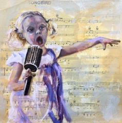 """Songbird, 12""""X12"""" Mixed media on canvas, $165.00, By Karen Pannabecker"""