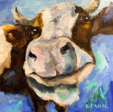 """Grinning Cow, 12""""X12"""" Oil on gallery wrapped canvas, $165.00, By Karen Pannabecker"""