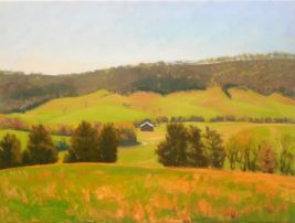 "Toad Run/Shag Hill - Pink and Green, 24""X18"", Oil on Canvas, Framed $600, Unframed $575, By Elizabeth Sauder"