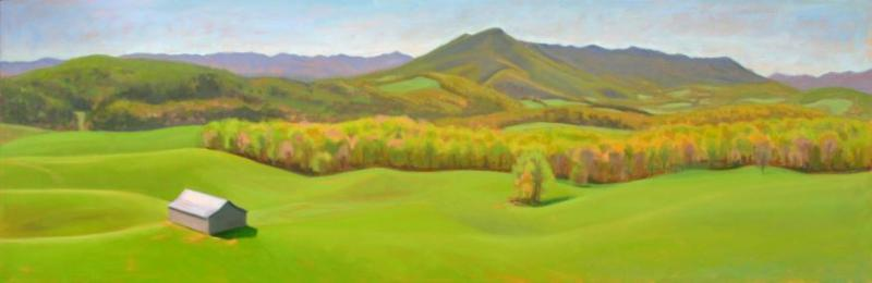 "The Lay Of The Land, 36""X12"", Oil on Canvas, Framed $620, Unframed $550, By Elizabeth Sauder"