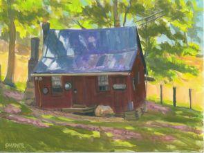 "Bird Forest Cabin - Season's Cusp, 8""X6"", Gouache on paper, $150 Framed, $125 Unframed, By Elizabeth Sauder"