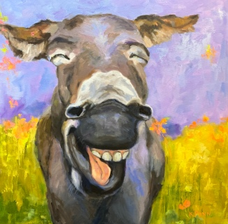 """Pannabecker Laughing Donkey 30""""X30"""" Oil on gallery wrapped canvas, Framed. $950.00, By Karen Pannabecker"""