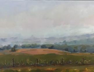"""Foggy Fall, 14""""X18"""", Framed $300, By Martha Devening"""