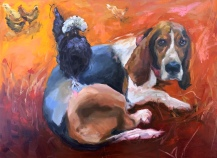 "Pet Portraits (sample) 16""X20"" or 18""X18"" Oil on gallery wrapped canvas $350, By Karen Pannabecker, Custom sizes available"