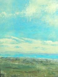 "Sky Of Teal, 18""X24"", Framed $800.00, By Martha Devening"