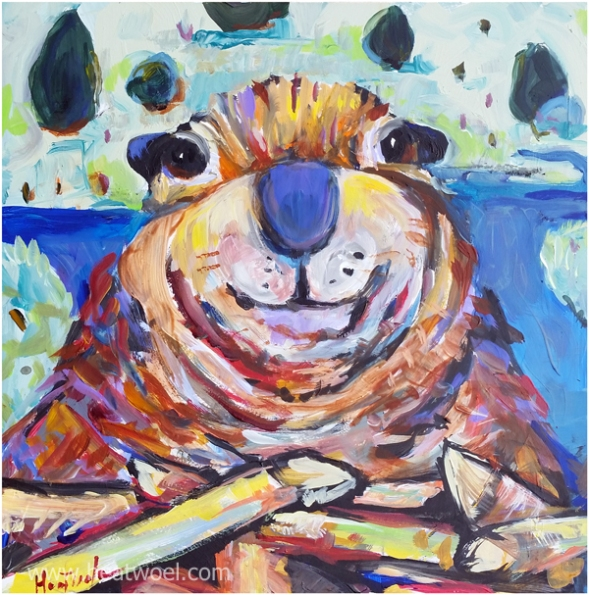 beaverface III -12 x 12 acrylic on panel unframed $200
