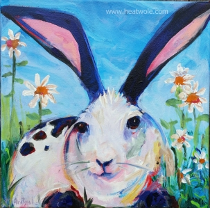 bunny and daisies 12 x 12 acrylic on canvas -gallery wrapped $200