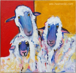sheep family 12 x 12 acrylic on canvas -gallery wrapped $200